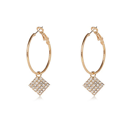 Gold tone diamanté drop hoop earrings