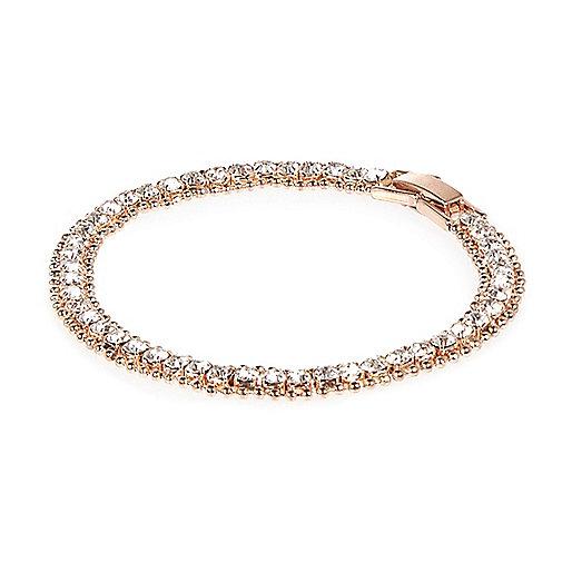 Bracelet façon or rose avec pierres incrustées