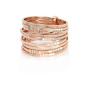 Rose gold tone stacked rings