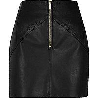 Black leather look crinkle panel mini skirt