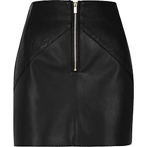 Black leather look crinkle panel mini skirt