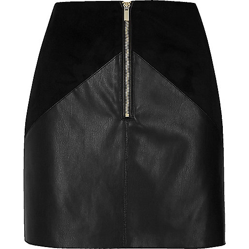 Black leather look panel mini skirt