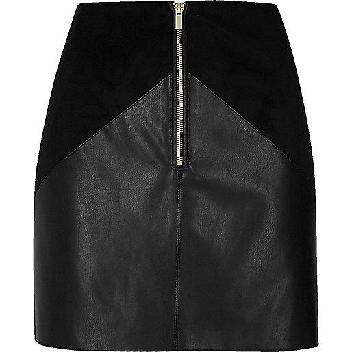 Black leather look panel mini skirt