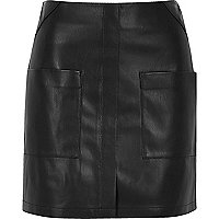 Black leather look patch pocket mini skirt
