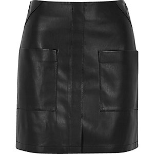 Black leather-look patch pocket mini skirt