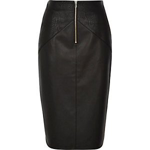 Black exposed zip leather look pencil skirt