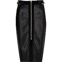 Black panel zip pencil skirt