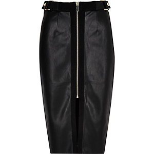 Black panel zip pencil skirt