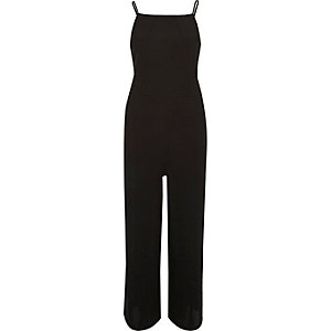 Black square neck culotte jumpsuit