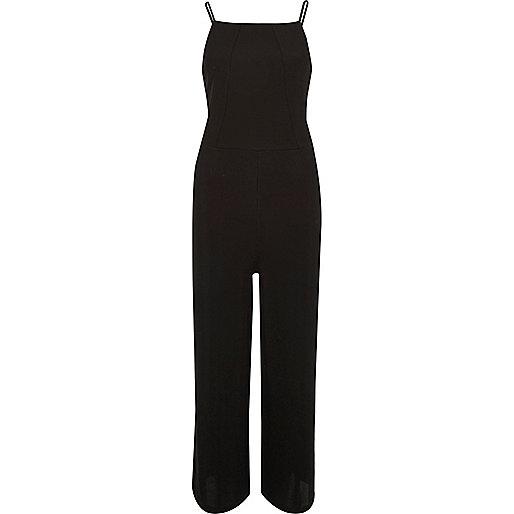 Black square neck culotte jumpsuit