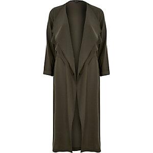 Khaki fallaway duster jacket