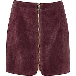 Dark pink suede zip through mini skirt