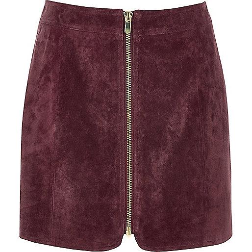 Mini-jupe en daim zippée rose foncé