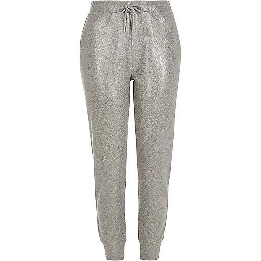 Pantalon de jogging argenté métallisé
