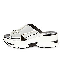 Silver cross strap trainer sandals
