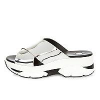 Silver cross strap sneaker sandals