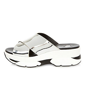 Silver cross strap sneaker sandals