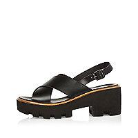 Sandales en cuir noir à plateformes