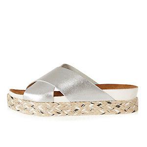 Silver leather espadrille flatform sandals