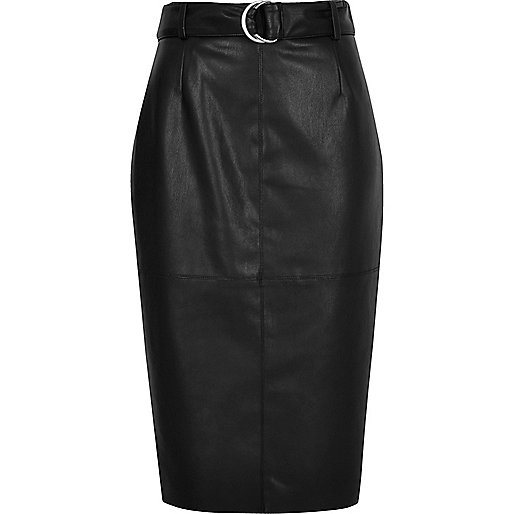 Black belted leather look pencil skirt