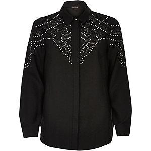 Chemise noire à clous thermocollés
