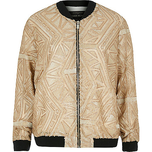 Gold embellished bomber jacket