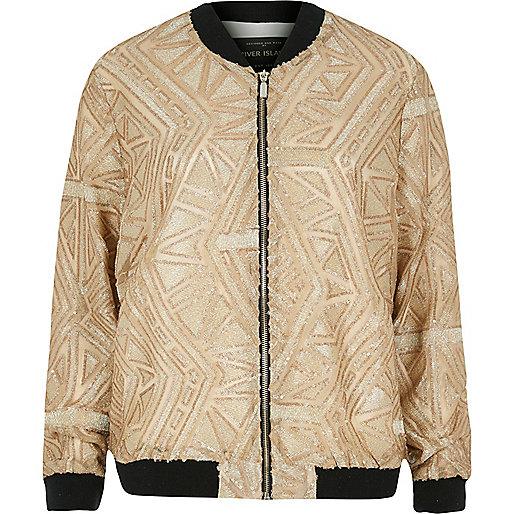Gold embellished bomber jacket