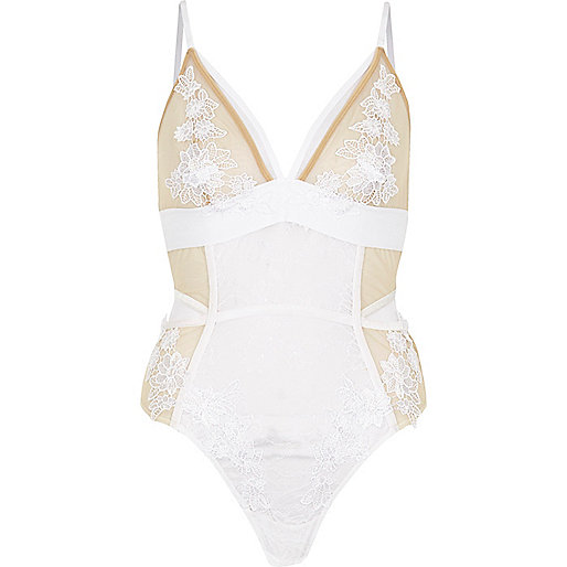 White floral lace bodysuit