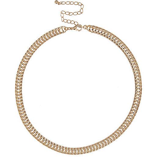 Beau collier chaîne dorée à maillons
