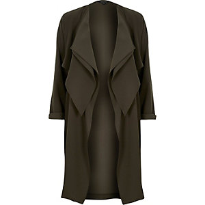Khaki double fallaway duster jacket
