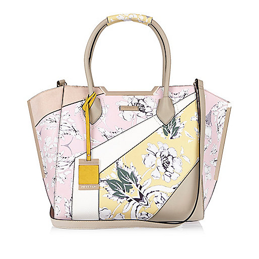 Pink print winged tote handbag