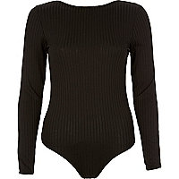 Black ribbed low back thong bodysuit