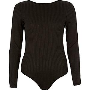 Body string côtelé noir avec dos échancré