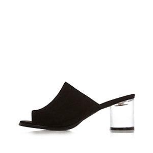 Black perspex heel mules