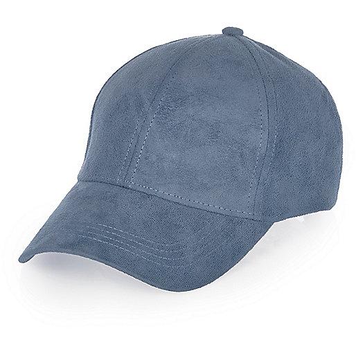 Blue denim faux suede cap