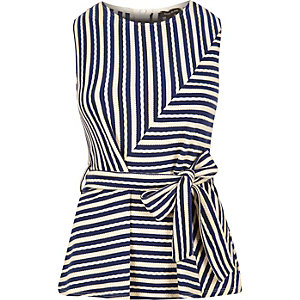 Navy stripe peplum top