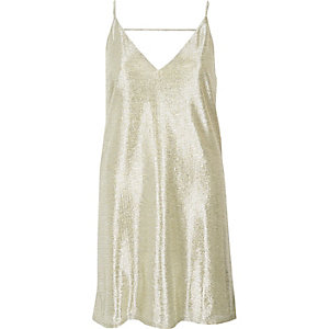 Gold foil slip dress