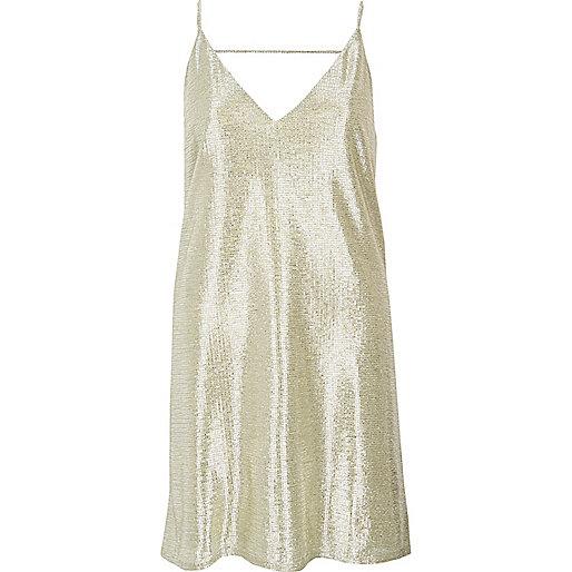 Gold foil slip dress