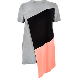 Plus grey colour block asymmetric T-shirt