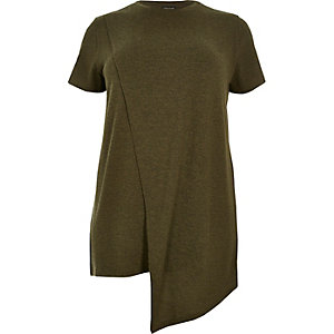 RI Plus khaki asymmetric wrap T-shirt
