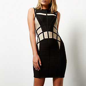 Black contrast bandage mini dress