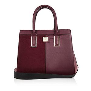 Dark red boxy panel tote handbag