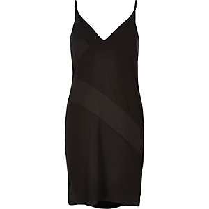 Black panel slip dress