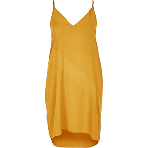Yellow panel slip dress