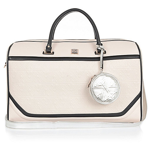 Gesteppte Reisetasche in Creme