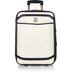 Cream quilted suitcase