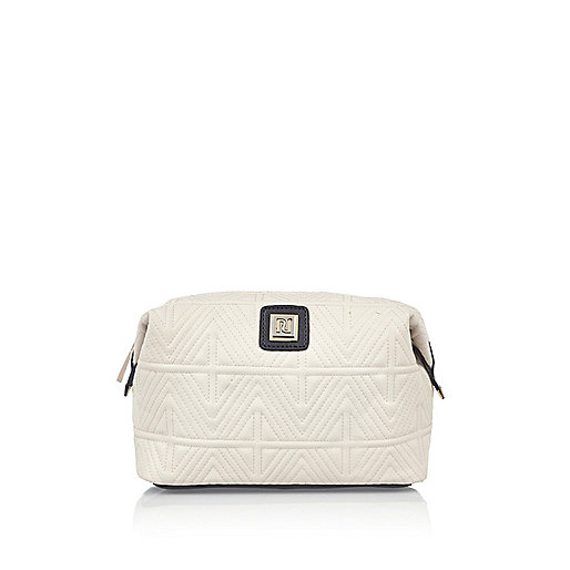 Cream quilted make-up bag