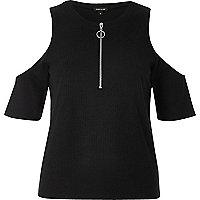 Black zip cold shoulder top