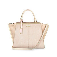 Nude winged tote handbag
