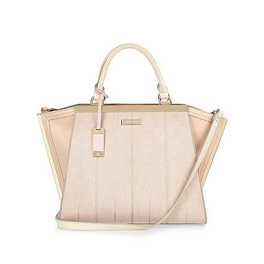 Nude winged tote handbag